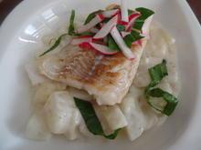 Kabeljau auf -Kartoffel-Kohlrabi-Rahm on Top mit Radieschen-Salsa - Rezept - Bild Nr. 11214