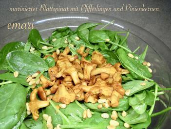 marinierter Blattspinat Salat mit Pfifferlingen - Rezept - Bild Nr. 4