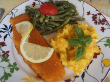 Seelachsfilet mit Buschbohnen und Möhren-Kartoffel-Stampf - Rezept - Bild Nr. 11235