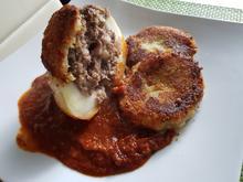 Kohlrabi gefüllt mir Parmesan-Kruste, Tomatensoße und Kartoffel-Kohlrabi-Taler - Rezept - Bild Nr. 11304
