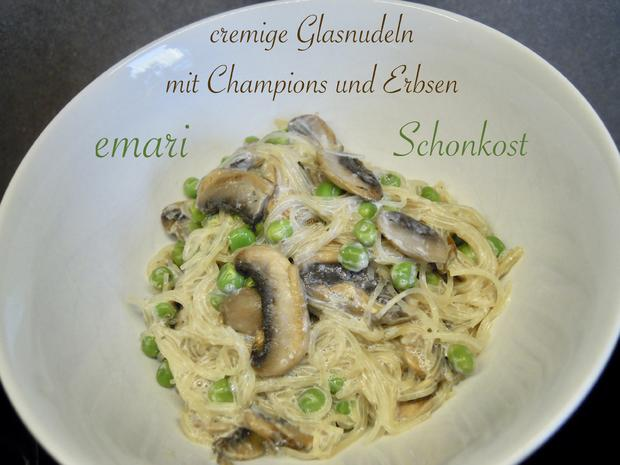 Schonkost - cremige leckere Glasnudeln mit Champions und Erbsen - Rezept - Bild Nr. 11336