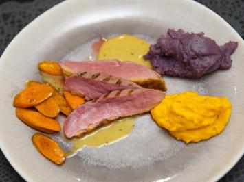 Rezept: Canard à l'orange mit zweierlei Püree
