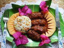 Hackfleischröllchen mit Reis Raja Airlangga und Melone - Rezept - Bild Nr. 2
