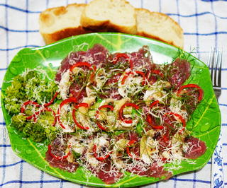 Carpaccio mit grünem Spargel, Brokkoli und Pecorino - Rezept - Bild Nr. 2