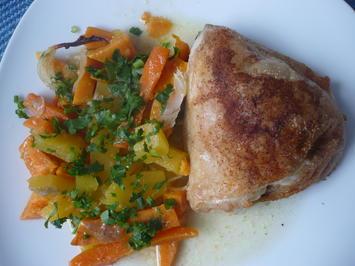 Hähnchen mit Butternut-Kürbis und Süßkartoffeln - Rezept - Bild Nr. 6