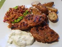 Lammkoteletts, grünes Erbspüree und Rosmarinkartoffeln - Rezept - Bild Nr. 11534