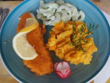 Alaska-Seelachsfilet mit Gurkensalat und Möhren-Kartoffel-Stampf - Rezept - Bild Nr. 2