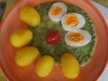 Gekochte Eier auf Erbsensauce und Pellkartoffel-Drillingen - Rezept - Bild Nr. 2