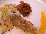 Hühnerbrustfilet mit Berberitzen, Karotten und Basmatireis mit Safran - Rezept - Bild Nr. 2