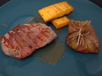 Saltimbocca in Weißweinsoße, mit Polenta und Gemüsepäckchen - Rezept - Bild Nr. 2
