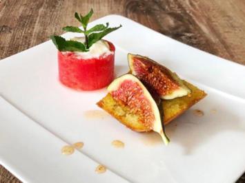 Ravani (Griechischer Grießkuchen) mit Feige und Wassermelone (Chryssanthi Kavazi) - Rezept - Bild Nr. 2