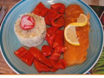 Alaska Seelachsfilet mit Selleriestampf und gerösteten Paprika - Rezept - Bild Nr. 2