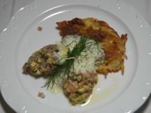 Nocken vom Thunfisch- und Lachstartar auf knusprigem Rösti mit Gurkenschaum - Rezept - Bild Nr. 2