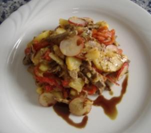 Kartoffelsalat mit Rindfleisch und Kürbiskernöl - Rezept