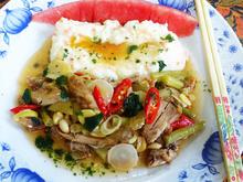 Hühnerfleisch in süß-saurer Sauce mit Kartoffelbrei und Melone - Rezept - Bild Nr. 2
