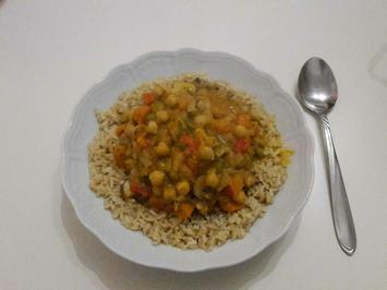 Kürbiscurry auf Reis - Rezept - Bild Nr. 2