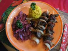 Leberspieße mit Speck, Rote Bete Salat und Curryreis - Rezept - Bild Nr. 2
