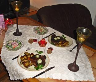 Entrecôte mit Salat und Kartoffelecken - Rezept - Bild Nr. 2