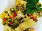Kokuss-Curry-Mango Soße mit Reis Vegan oder mit Fleisch - Rezept - Bild Nr. 2