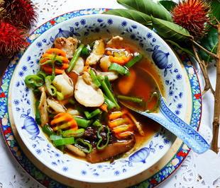 Hühnersuppe mit Garnelen und Pilzen - San Xian Tang - Rezept - Bild Nr. 2