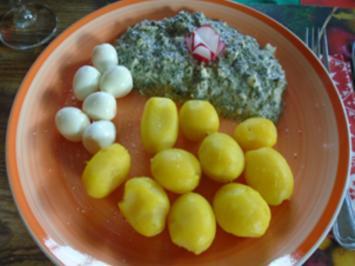 Grüne Sauce mit Wachteleiern und Pellkartoffel-Drillingen - Rezept - Bild Nr. 2