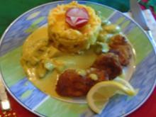 Schnitzelchen mit Champignons in Currysauce und Möhren-Sellerie-Kartoffel-Stampf - Rezept - Bild Nr. 2
