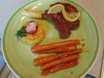 Stielkotelett mit Honig-Snack-Möhren und Möhren-Sellerie-Kartoffel-Stampf - Rezept - Bild Nr. 2