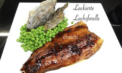 Lackierte Lachs Forelle mit Buttererbsen - Rezept - Bild Nr. 2