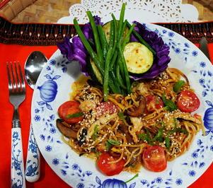 Bunte Linguine mit Zucchini und Prinzessbohnen - Rezept - Bild Nr. 2