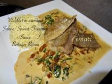 Welsfilet in cremiger Sahne/Spinat/Tomaten Sauce mit Risoni - Rezept - Bild Nr. 2