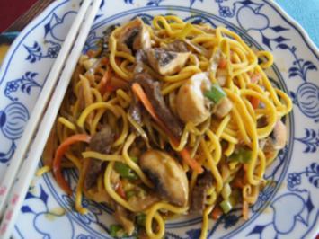 Gelbes Thai-Curry mit Mie-Nudeln, Rindfleisch und Gemüsemix - Rezept - Bild Nr. 2