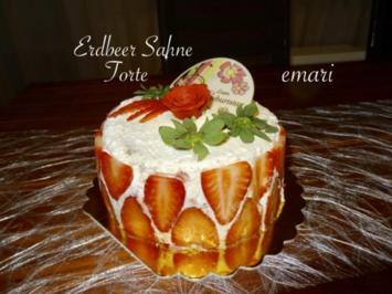 Erdbeersahne Torte  mit schnellem Puddingkuchenteig - Rezept - Bild Nr. 8