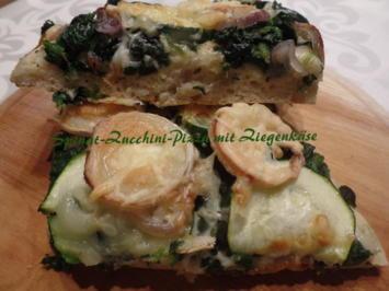 Spinat-Zucchini-Pizza mit Ziegenkäse - Rezept - Bild Nr. 13198
