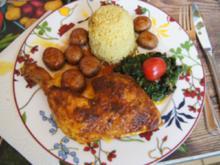 Hähnchenschenkel mit Champignons, Spinat und Curryreis - Rezept - Bild Nr. 2