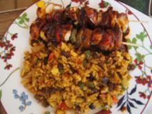 Hähnchenbrustfiletspieße mit pikanter Sauce und Paprika-Basmatireis - Rezept - Bild Nr. 2