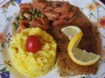 Schlemmerfilet mit Erbsen-Möhren-Gemüse und Kartoffelstampf - Rezept - Bild Nr. 2
