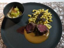 Hirschfilet mit getrüffelten Spätzle dazu Salat vom Wintergemüse - Rezept - Bild Nr. 13702