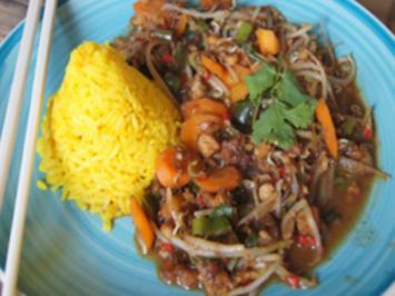 Seelachsfilet mit Wok-Gemüse und Jasmin-Reis - Rezept - Bild Nr. 13794