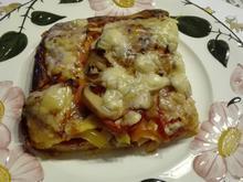 Selbstgemachte Pizza Halb mit Salami halb mit Thunfisch - Rezept - Bild Nr. 13776