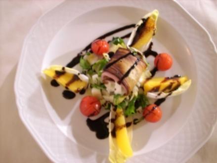 Auberginen gefüllt mit gekochtem Schinken, Mozzarella und Rucola - Rezept