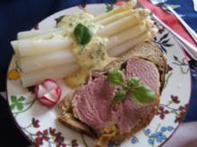 Spargel mit Sauce Hollandaise legere und Schinken im Brotteig - Rezept - Bild Nr. 3