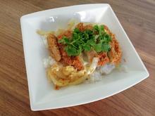 Gebackenes Katsudon - Schweinefleisch mit Ei auf Reisbett - Rezept - Bild Nr. 2