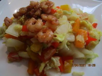 Shrimps mit Chinakohl-Paprika-Gemüse - Rezept - Bild Nr. 13954