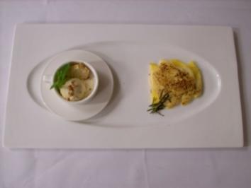 Ananas-Mango-Gratin mit Honig-Rosmarin-Zabaione und Lavendeleis - Rezept