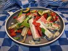 Gemüse - Surimi Pfanne mit Kräuterbutter - Rezept - Bild Nr. 13987