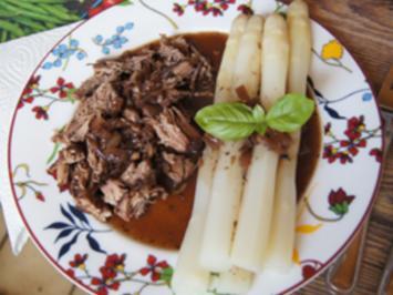 Pulled Beef mit pikanter Sauce und Spargel - Rezept - Bild Nr. 14064