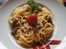 Spaghetti mit getrockneten Steinpilzen als Carbonara - Rezept - Bild Nr. 14134
