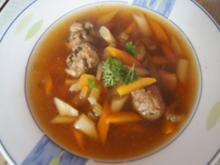 Suppe mit Tafelspitzbrühe und Gemüse-Mettbällchen-Einlage - Rezept - Bild Nr. 2