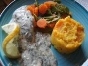 Lachsfilet in Kräutersauce mit Möhren-Zuckerschoten-Gemüse und Möhren-Kartoffel-Stampf - Rezept - Bild Nr. 14306