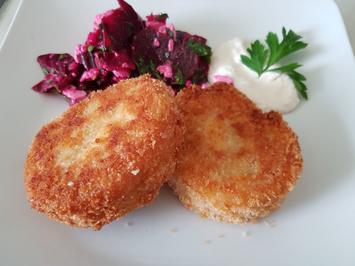 """Kartoffel-""""Cordon bleu"""" mit Rote Bete-Salat und Meerrettich-Creme - Rezept - Bild Nr. 14221"""